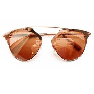 Rose gold & blush pink retro aviator sunglasses